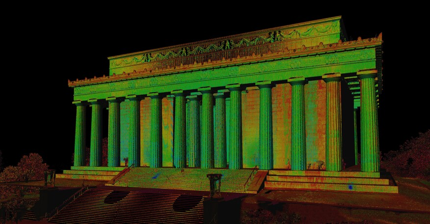A cloud point rendering of the Lincoln Memorial, created by laser scanning the monument