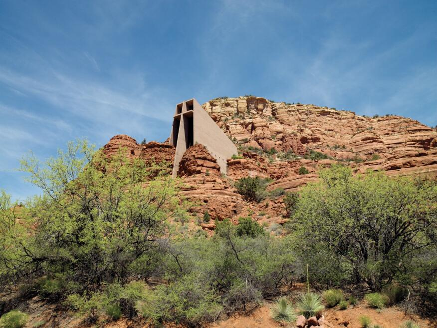 Church of the Holy Cross, designed by Ashen + Allen, rises out of the rocks in Sedona, Ariz.