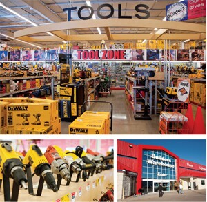 The Kearney yard features 60,000 square feet of retail space; the Kearney store entance; some of the more than 1,940 power tool SKUs;