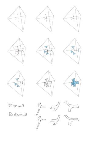 Area designed C-Lith using a code that translates a packed tetrahedral base geometery into individual parts to produce related but variable component geometries.