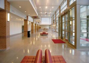 A new student center at Manhattanville College, Purchase, N.Y., features polished concrete more than 70% of its floors. The building won a Green Judges Choice Award in the 2008 Green Education Design Showcase.