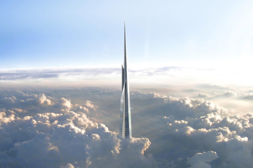 The Kingdom Tower in Jeddah, Saudi Arabia, will rise more than 3,300 feet into the air.