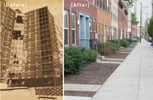 PHA demolished the Martin Luther King public housingtowers (left) in 1999. The redeveloped Martin Luther King community (right) has dramatically invigorated the neighborhood.