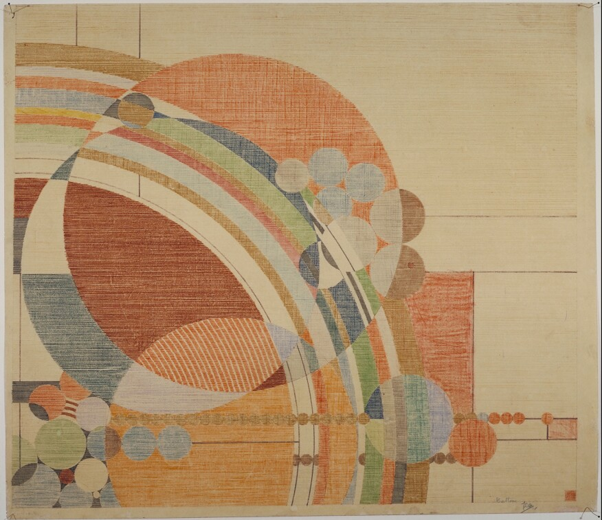 "Frank Lloyd Wright, Liberty Magazine cover, colored pencil on paper, 24.5 x 28.25"" (62.2 x 71.8 cm), 1926, from ""Frank Lloyd Wright at 150: Unpacking the Archive."""