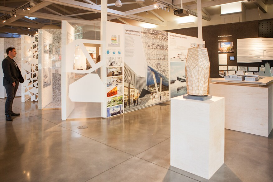 "View of ""Snøhetta: People, Process, Projects"" exhibition at the Center for Architecture in Portland, Ore."