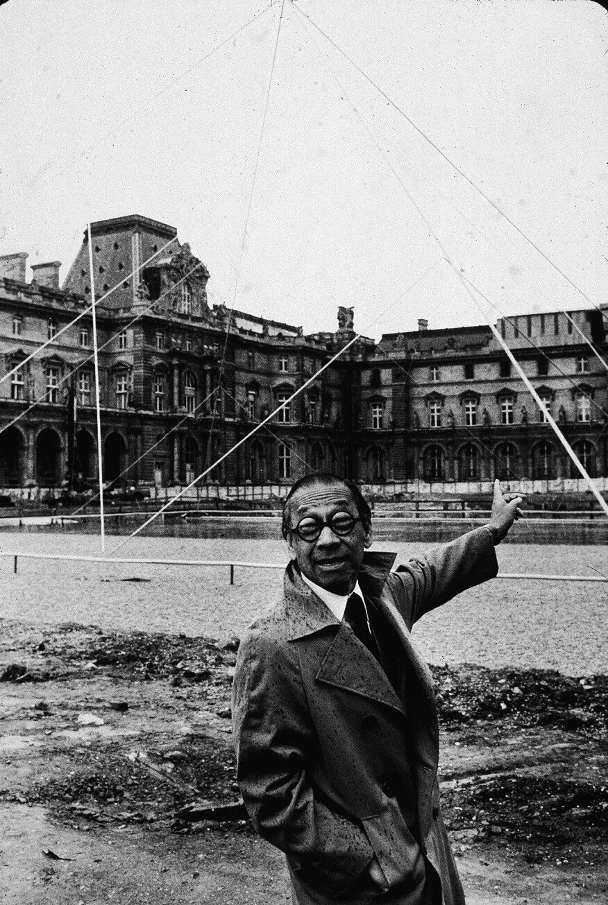 I.M. Pei on the Louvre Pyramid construction site