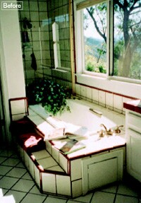 In the original bathroom, the large window that offered a view of the canyon was wasted except for the moments when the couple walked past the bathtub, which they rarely used, on the way to the shower.