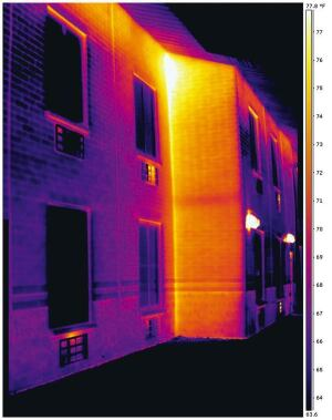 An inferred thermogram of this commercial facility showed air leakage at the inward corner while the enclosure was pressurized