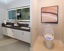 Kohler outfitted the bathroom with toilet and faucets that far exceed EPA's requirements.