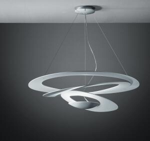 Pirce  Artemide  artemide.com  Suspension lamp with a downward spiral design - Designed by Guiseppe Maurizio Scutellà - Available in aluminum or polished white
