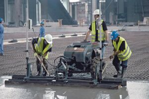 The Copperhead is a laser-controlled walk-behind screed with a 10-ft.-wide head.