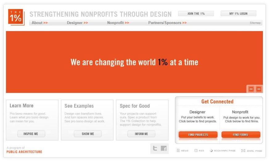 Screenshot of The 1% program's current website.