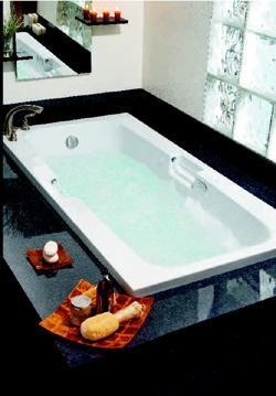 CHOICE WORKS: Builder's Choice tubs offer high-end features with an affordable price tag, the manufacturer says. Created from seven of the most popular Builder's Choice tub styles, the line is now equipped with a dual air bubbler and whirlpool system. Made from durable Lucite cast acrylic, the tubs are available in a range of sizes, colors, and styles such as rectangular designs and two-person corner units. Lasco Bathware. 800-877-2005. www.lascobathware.com.