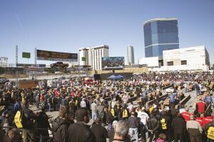 The 14th annual SPEC MIX Bricklayer 500 competition drew up to 4,000 spectators at World of Concrete.