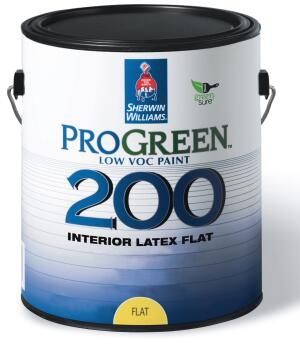 ProGreen 200    Sherwin-Williams  www.sherwin-williams.com  Low-odor, low-VOC paint - Available in new low-sheen finish that is easier to apply and hides surface imperfections - Also available in a primer and in flat, semi-gloss, and eggshell finishes - Comes in hundreds of colors - Economical pricing for commercial applications - Can be applied in occupied areas - Greenguard Certified for Children Schools