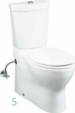 Persuade with Twin Touch    Kohlerwww.kohler.com  Dual-flush toilet with the choice of two water levels: 0.8 gallons or 1.6 gallons    Twobutton actuator integrated into top of tank lid    Carries WaterSense label    Two-piece construction    Used routinely, the 0.8 gallon flush can save a four-person household up to 6,000 gallons of water per year over standard low-flow models