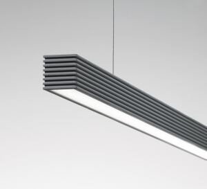 "The L20 from Litecontrol offers an LED light source with elegant styling. The pendant-mount linear luminaire has been designed to provide higher light output and greater efficacy than a similar linear fluorescent luminaire. It is best suited for applications where a small-scale 2""-by-2"" linear downlight is needed, such as laboratories, offices, retail, and public spaces. Its VC4 lens has a two-piece construction that couples an internal microstructure optical film with an optical shaping lens to produce a uniform lens that obscures the individual LED images with optimal glare control. The VC family consists of optical components that are individually engineered for maximum visual comfort. litecontrol.com"