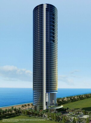 A mockup of Gil Dezer's Porsche Design tower, which is currently under construction.