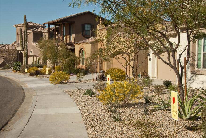 "Be My Valentine. Every homeowner in Rosewood Homes'  Stone Gate neighborhood at the Estrella master plan in Goodyear, Ariz., placed a sign on his or her front yard that reads ""I LOVE My Rosewood Home,"" to show their satisfaction with the builder and its product."