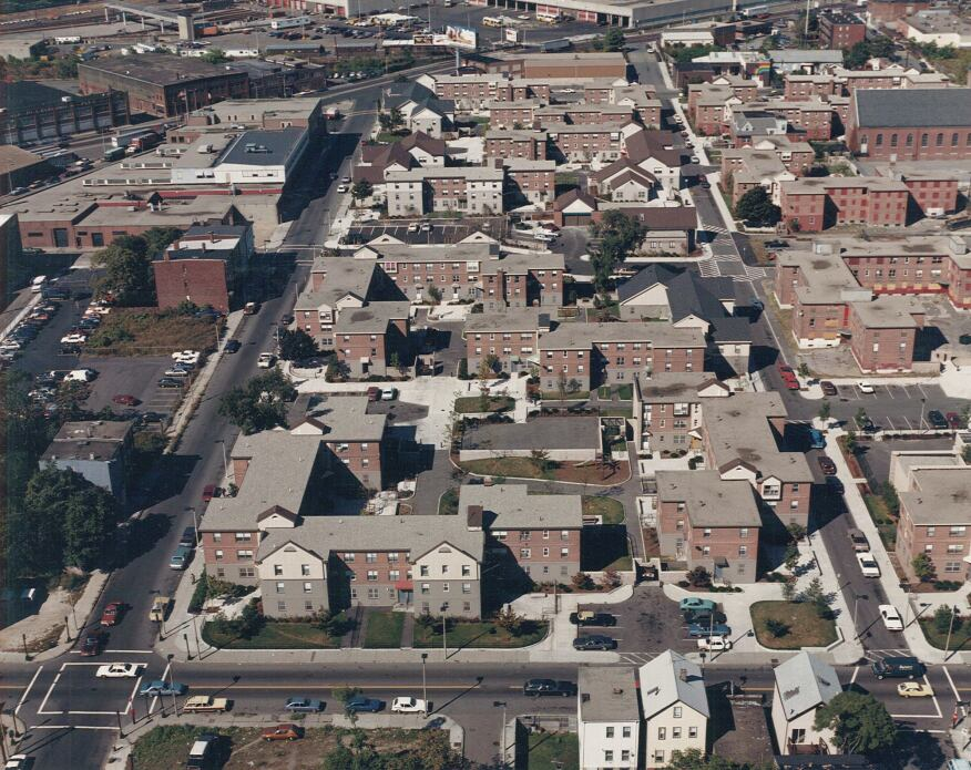 An aerial view of the West Broadway housing complex, after the proposed renovations were completed.