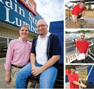 BRAINS PLUS BRAWN: Main Street Lumber co-owner Robert Pool (left photo, pink shirt) says it takes more than brute strength to succeed in a lumberyard these days. He relies on the smarts of crew members such as dispatcher Gary Brewer (left photo, with glasses), yard foreman David Scott (top right), door shop and warehouse worker Trevor Allen (middle right), and driver Wesley Pool (bottom right).