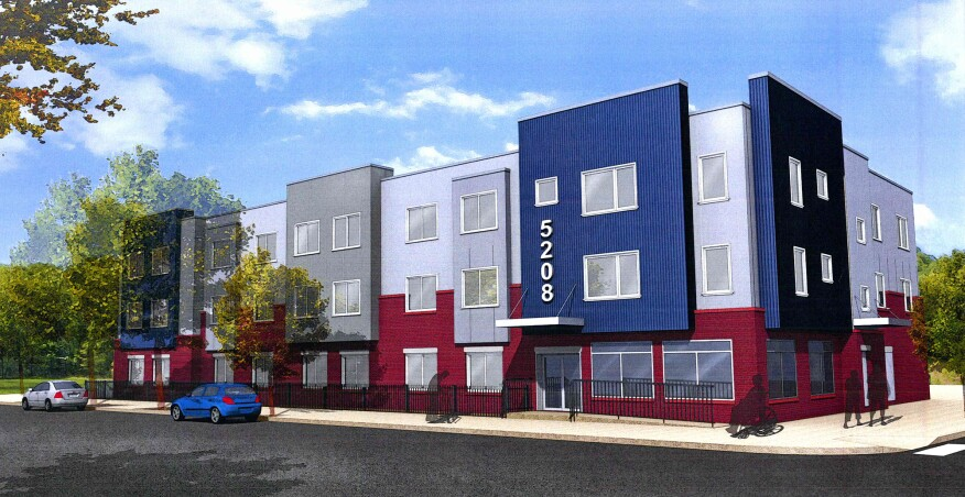 Rendering of Liberty 52, a proposed 24-unit affordable housing development, in Philadelphia, that will be designed to Passive House standards.