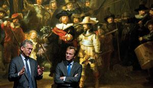 Frans van Houten, CEO of Philips (left), and Wim Pijbes, general director of the Rijksmuseum in Amsterdam (right), at the unveiling ceremony for the relighting of the Night Watch.