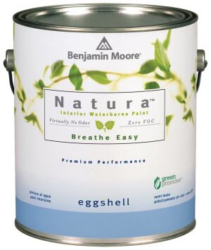 Being green is more colorful now that Benjamin Moore's Natura zero-VOC interior paint is available in all of the company's nearly 3,500 hues. Testing found that Natura releass fewer total volitile organic compounds than other zero-VOC paints. The Natura line, offered in quarts and gallons, includes a primer and three finishes (flat, eggshell, and semigloss).  benjaminmoore.com