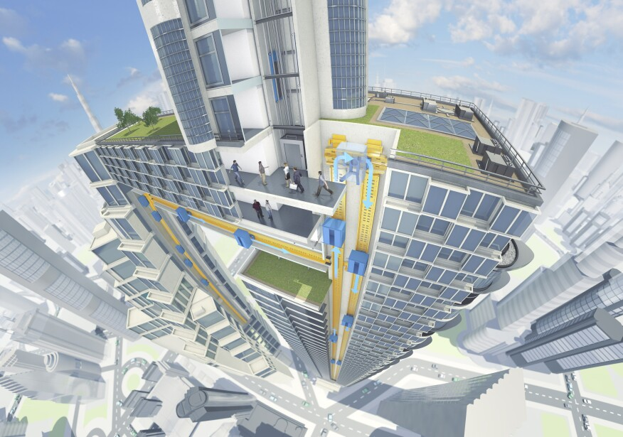 The new cableless elevator design provides buildings up to 25 percent more usable space. Image courtesy ThyssenKrupp