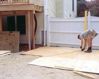 Figure 1. Lay out the inner and outer arcs of the stair on a temporary floor made from a double layer of plywood.