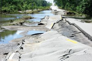 Floodwaters made highways and hundreds of smaller roads impassable and wreaked havoc on road base material. Photo: Iowa DOT