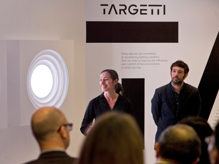 Artist Aleksandra Stratimirovic (left) and lighting designer Athanassios Danilof (right) at the press preview for Color Wheels at the Targetti stand during Light+Building 2016.