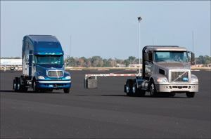 Meritor WABCO's OnGuard ACC system is tested with an artificial target.