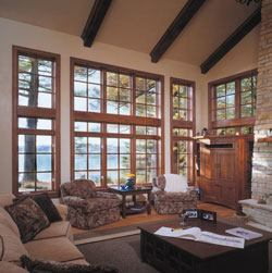 The great room has the requisite fireplace and entertainment center, but it's the view of Lake Geneva that really steals the show here.