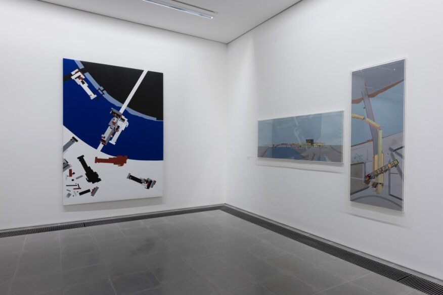 Malevich's Tektonic (left) on display at the exhibition