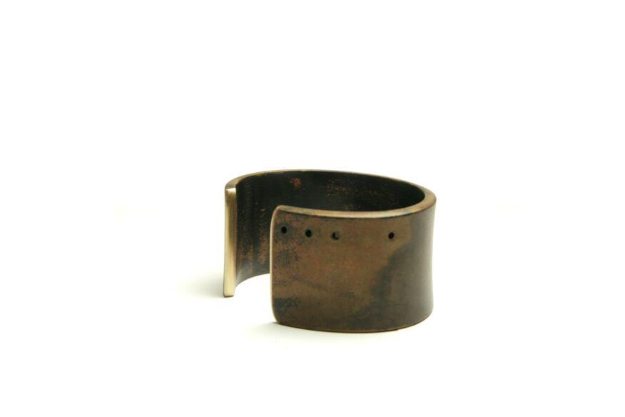 Wide women's cuff, torched finish, Marmol Radziner Jewelry.