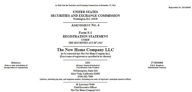 The New Home Company re-ignites its IPO run