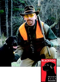 Blackdog's Dave Bryan with Marley. The Labrador retriever in the company's logo connotes trust and approachability.