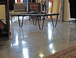 A Greenearth Floors crew gave the concrete floor at the Eileen Fisher clothing store a glimmering shine.