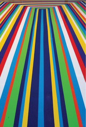 Everyday colors: Vinyl tape is used in Jim Lambie's ZOBOP!, 2006