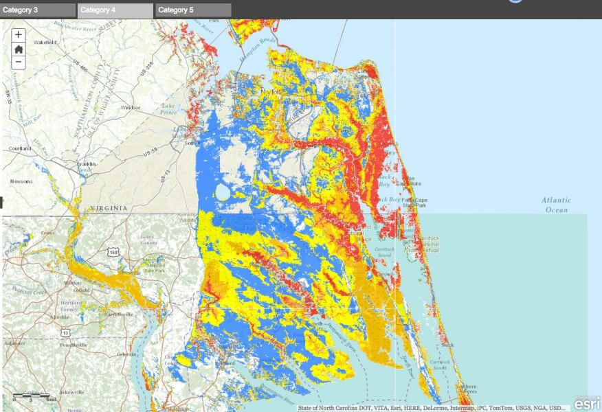 """But choosing the """"Category 4"""" tab in the map interface shows a more realistic visual (bottom): depending on storm track, a powerful hurricane could cause extreme flooding in Virginia as well as in the Carolinas."""