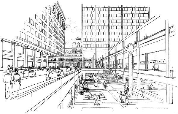 City Planning Commission drawing of the proposed Market East project, 1960.