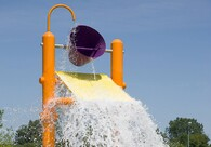 Mega Water Bucket – Full of anticipation, towering above, the mega bucket dump is something to love