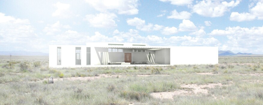 Split volumes form the Y-House in Marfa, Texas, allowing multiple vantage points of the landscape.