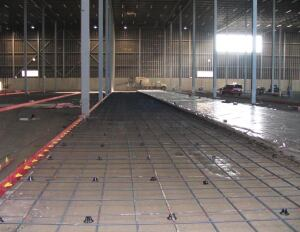 The strip pour method uses forms to set rigid tolerances, milled wood form tops or thin steel edge forms, and vibrating truss-screeds with hand tools used for strike-off.