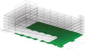 Using BIM to track job completion, the contractor colors completed concrete placements in green. Each placement can be marked with a different color and the schedule of future placements also can be plotted.