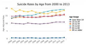 Suicide rates for 45 to 64 year-olds are the fastest-growing age group.