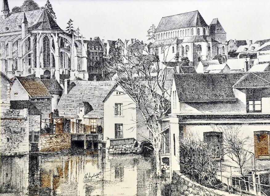 St. Pierre and St. Aigman, Vue sur l'Eure au Pont de la Courtille, Chartres, France (2003)
