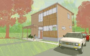 The front elevation of the three-bedroom, two-and-a-half-bath XHouse2, the first in Bensonwood's Alliance Series designed by Gregory La Vardera.