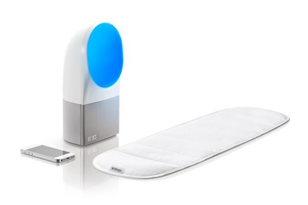 This alarm clock is designed to track users' movement during sleep, waking them with a blue-enriched light.
